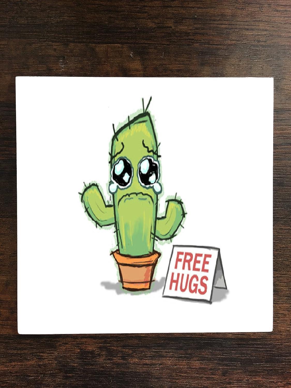 悲しいSaguaro Cactus Free Hugs One Pieceプレミアムセラミックタイルコースター4.25