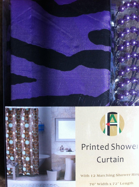 Shower Curtain Kids Jungle Safari Purple Zebra Design with Decorative Roller Rings/hooks