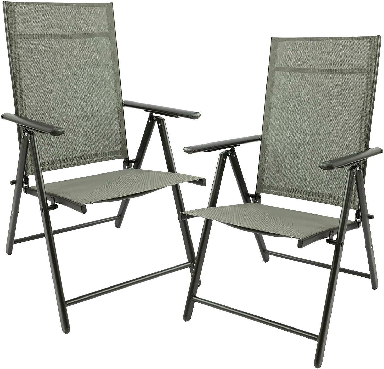 MaxxGarden - Juego de 2 sillas plegables para jardín, terraza, balcón - Silla plegable de aluminio y plástico - Plata/gris