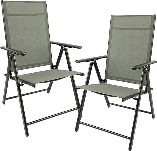 MaxxGarden - Juego de 2 sillas plegables para jardín, terraza, balcón - Silla plegable de aluminio y plástico - Plata/gris: Amazon.es: Jardín