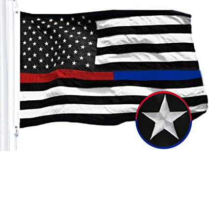 42343ccd989e G128 - Thin Blue Line Police   Thin Red Line Firefighter Embroidered 3X5ft  U.S. American Flag