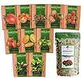 Heirloom 8 Tomato Seeds and 2 Basil Herb Seeds | Non GMO | Zebra, Roma, Yellow Plum, Amish Paste, Cherry, Cherokee, Beefsteak