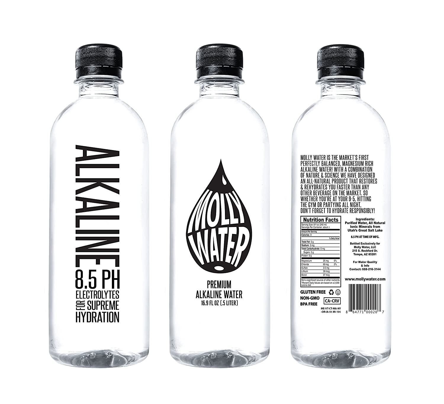 Amazoncom Molly Water Premium Alkaline Water With Magnesium And - Alkaline water bottle
