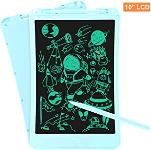 10 inch LCD Writing Tablet, iToolsTech Super Light Electronic Drawing Writing Board with Lock Fuction, One-Button Erase, Digital Doodle Board for Kids and Adults at Home, School and Office-Blue