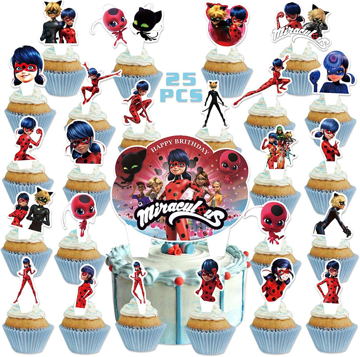 25PCS Miraculou/_s Ladybu/_g Cake Toppers for Kids Birthday Party Supplies Cat Theme Party Decorations