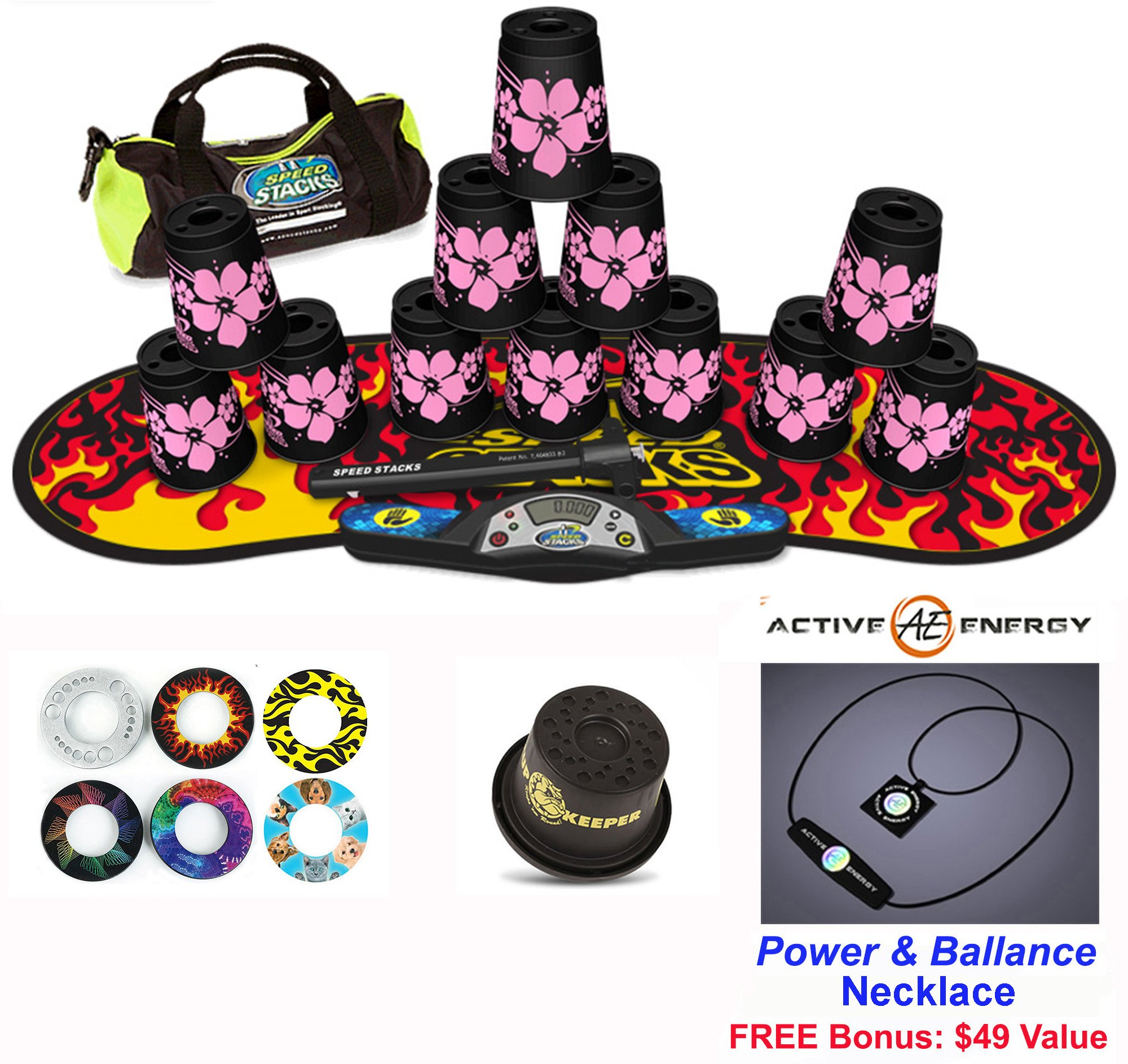 Speed Stacks Combo Set 'The Works'': 12 PINK HAWAIIAN 4'' Cups, Black Flame Gen 3 Mat, G4 Pro Timer, Cup Keeper, Stem, Gear Bag + Active Energy Necklace