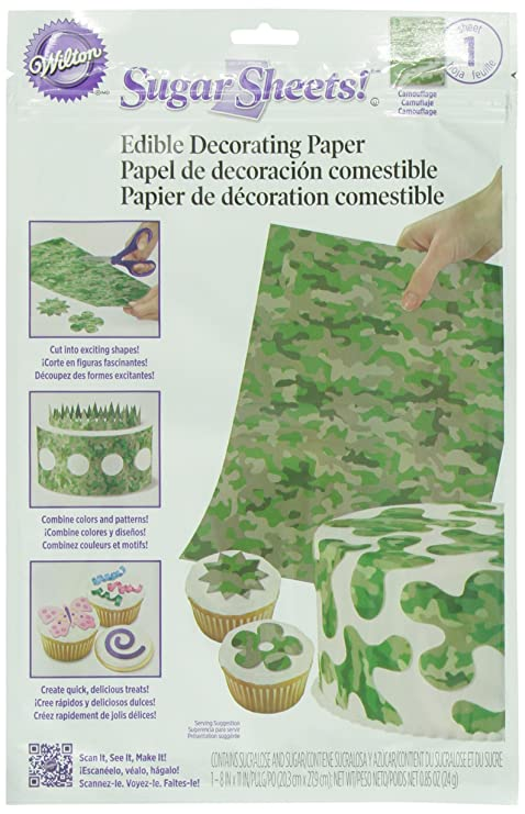Wilton 710-2910 Camouflage Sugar Sheets for Food Decorating Tool