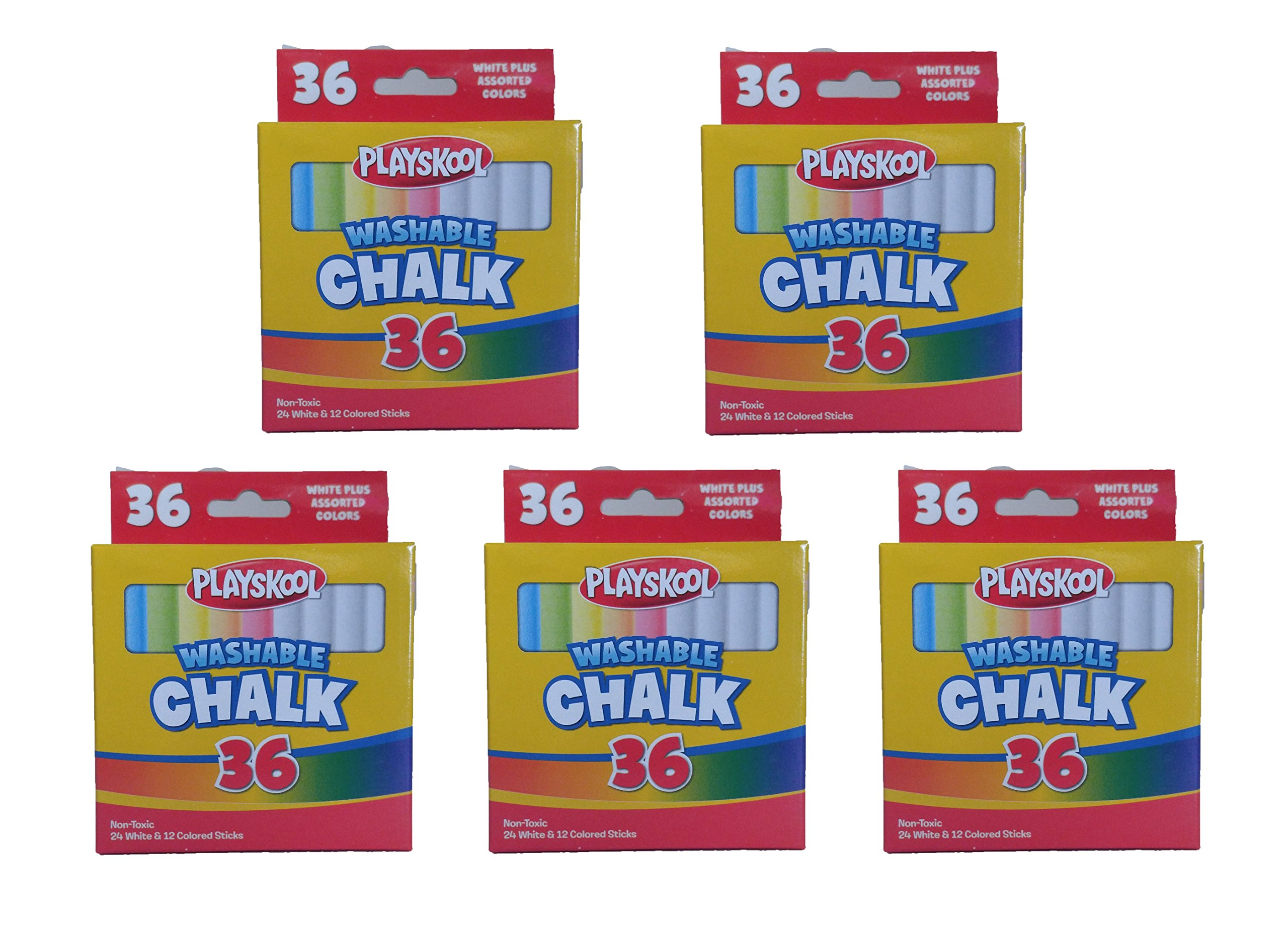 Set of 5 Playskool Brand Washable 36 Piece White and Assorted Colored Chalk by Playskool