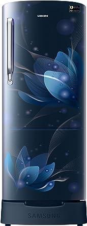 Samsung 192 L 4 Star Direct Cool Single Door Refrigerator(RR20N182YU8/HL/RR20N282YU8/NL, Blooming Saffron Blue, Base Stand with Drawer, Inverter Compressor)