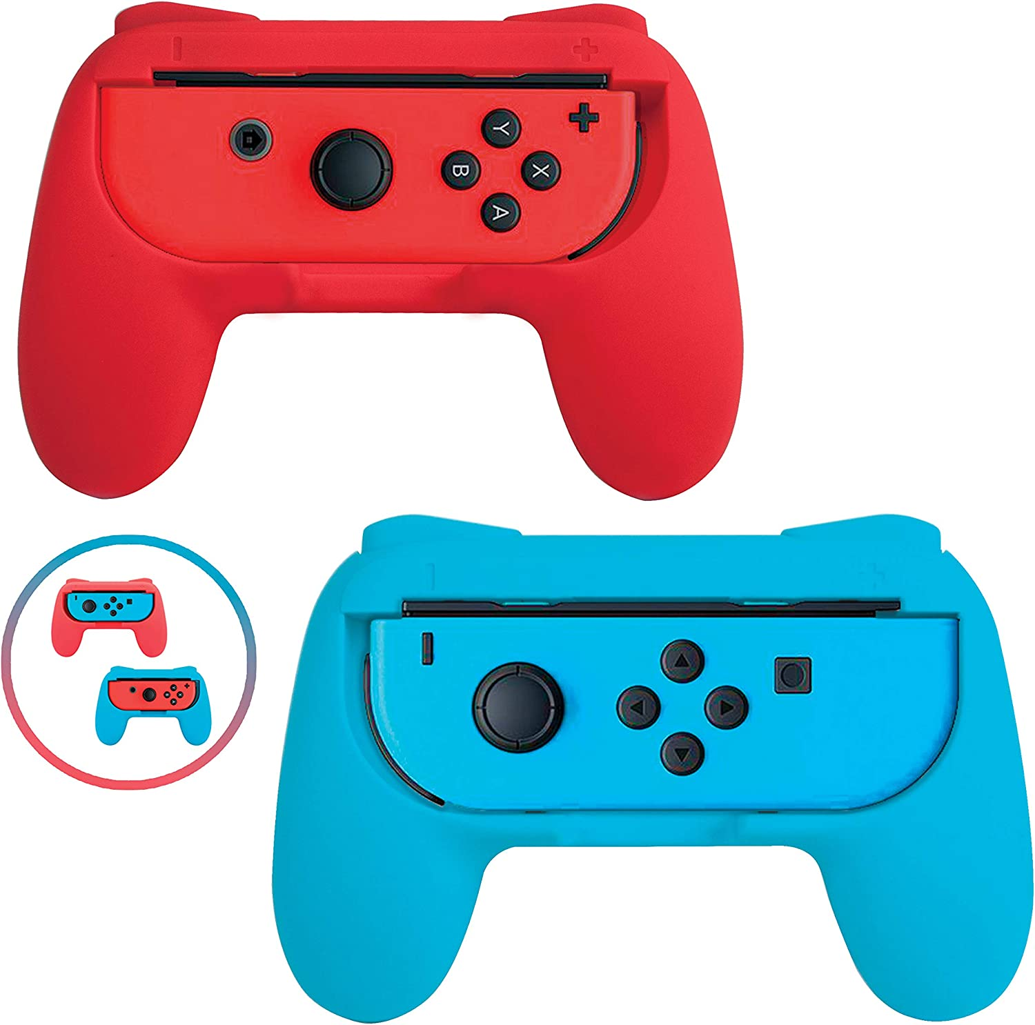 Beastron Grips Compatible with Nintendo Switch Joy Cons, Wear-Resistant Handle, 2 Pack (Red & Blue) (Matte Finish)