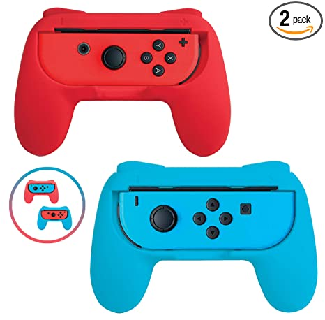 Beastron Grips Compatible with Nintendo Switch Joy Cons, Wear-Resistant  Handle, 2 Pack (Red & Blue)