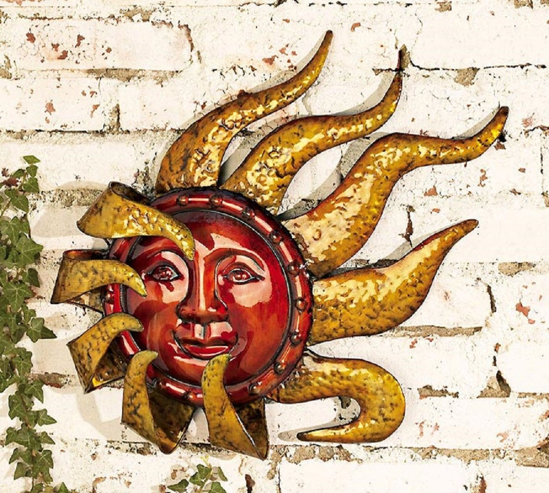 Amazon.com: Smiling Metal Sun Face Indoor/Outdoor Wall Art: Home ...