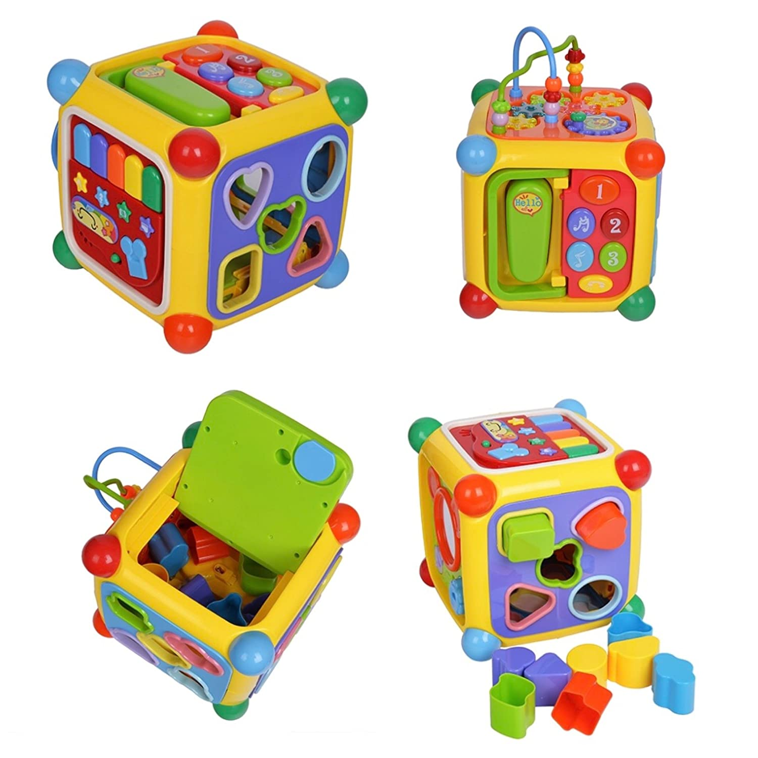 Activity cube toy busy box activity center features: well made 6-panel motor sensory intellect cube abacus beads wheel gear blocks and shapes puzzle piano set removable telephone & receiver Mickey mouse inspired self discovery mirror retractable key tw