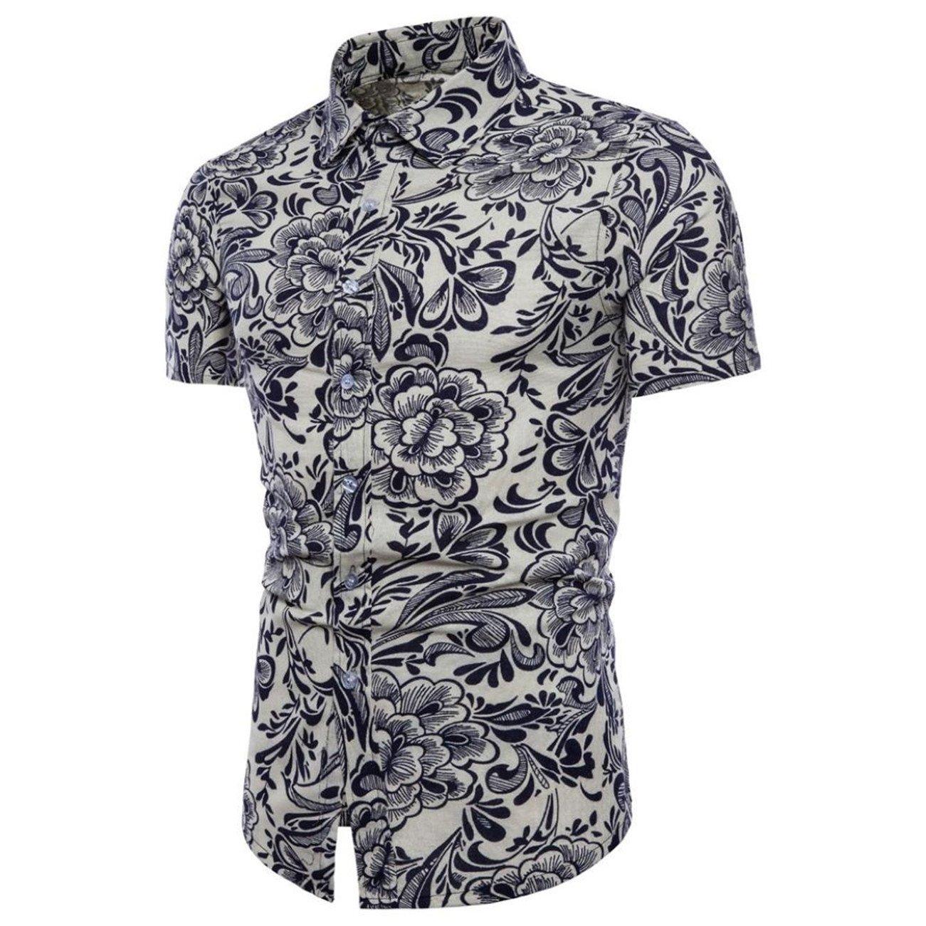 Chemises Homme Chemises Hawaiennes Homme Hommes Été Bohe Floral Manches Courtes Lin T-Shirt Basique Blouse Grande Taille