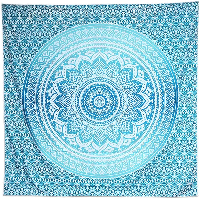 ACRAFT Turquoise Wall Decor Mandala Tapestry Blue Teal Wall Hanging Tapestries for Bedroom Yoga Beach (Turquoise)