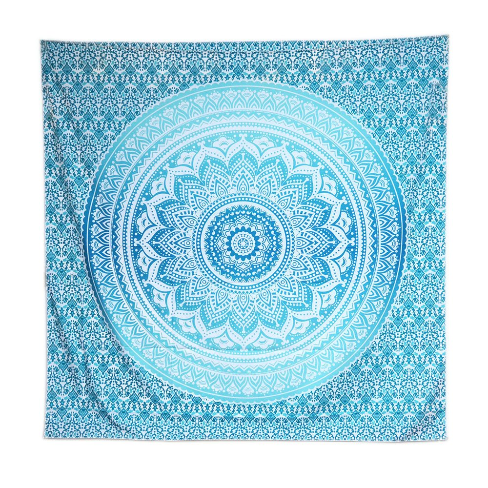 Amazon com acraft turquoise wall decor mandala tapestry blue teal wall hanging tapestries for bedroom yoga beach turquoise home kitchen