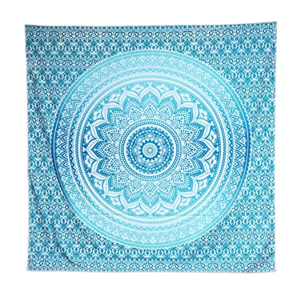 ACRAFT Turquoise Wall Decor Mandala Tapestry Blue Teal Wall Hanging  Tapestries For Bedroom Yoga Beach (