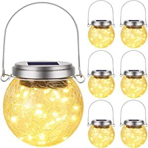 6 Pack Hanging Outdoor Solar Lights, Decorative Cracked Glass Ball Lights, Solar Powered Waterproof Globe Ball Lights with Handle for Tree Garden Yard Patio Fence Holiday Decoration, Warm White