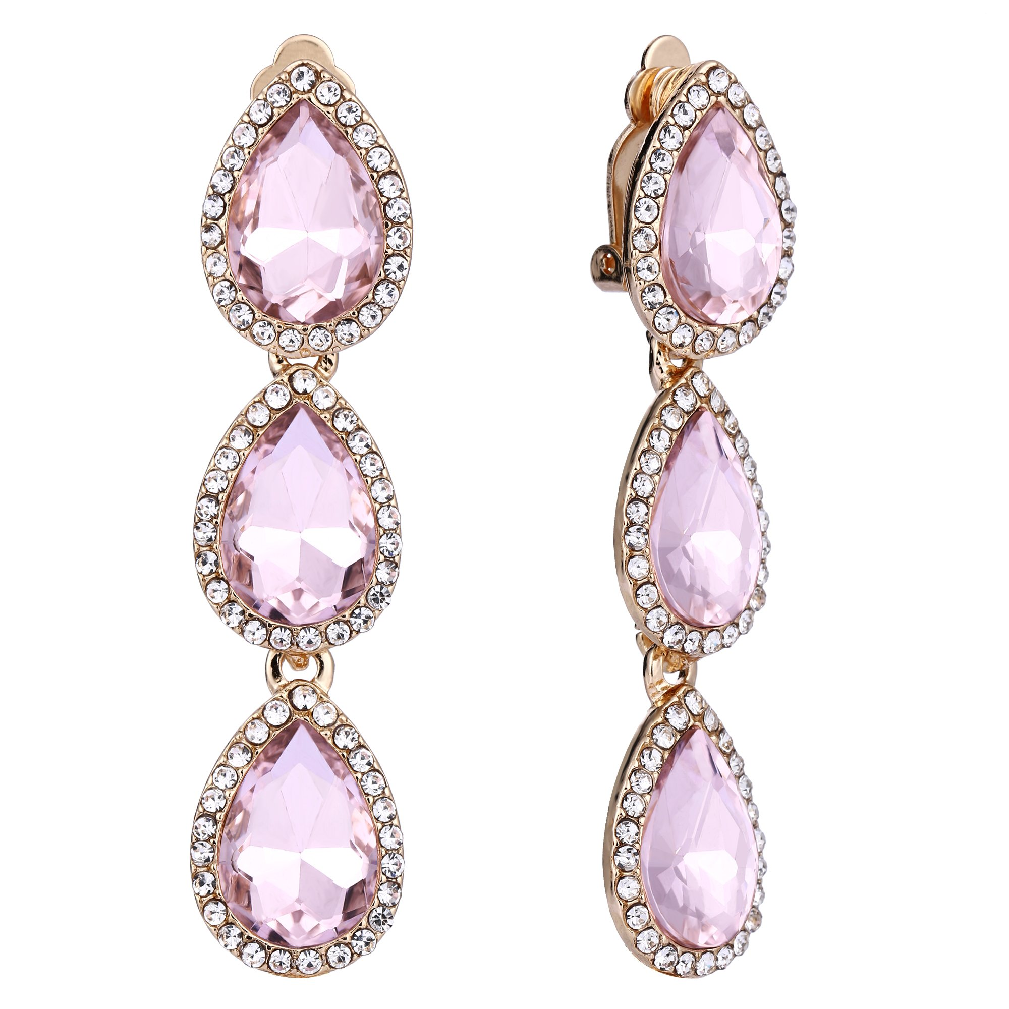 EleQueen Women's Gold-tone Austrian Crystal Teardrop Pear Shape 2.4 Inch Long Clip-on Dangle Earrings Pink