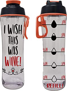 product image for 24 oz. BPA Free Reusable Water Bottle with Time Marker - Motivational Fitness Bottles - Hours Marked - Drink More Water Daily - Tracker Helps You Drink Water All Day - Made in USA (Wine Wishes)