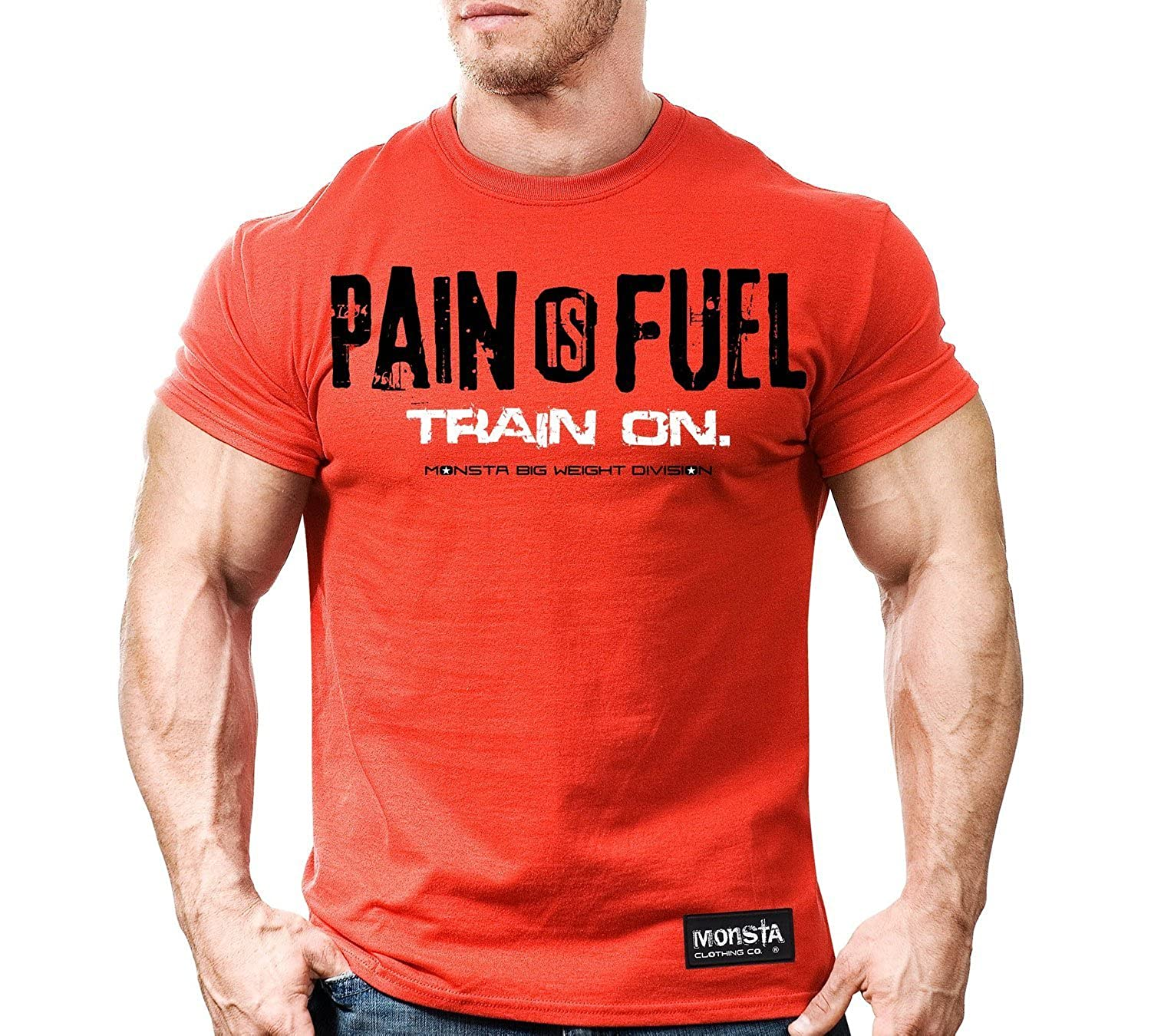 Monsta Clothing Co Pain Is Fuel Mens Soft T Shirt Red