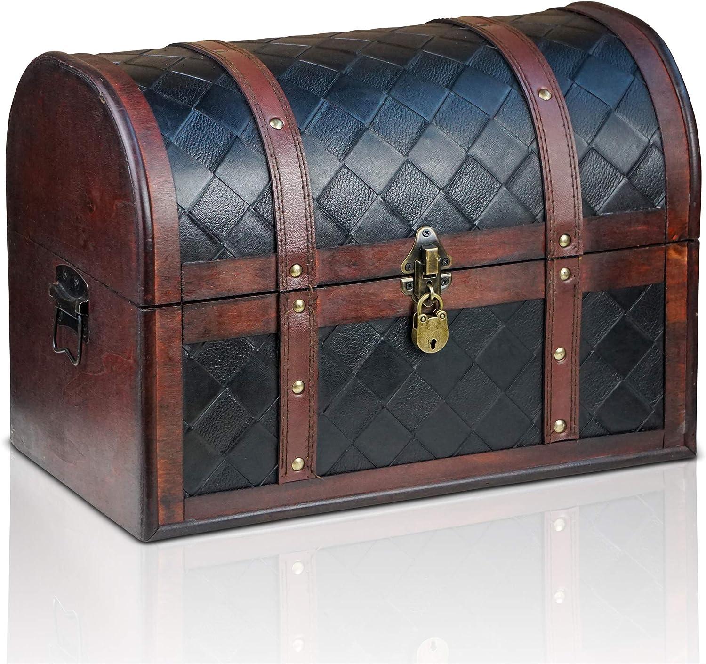 Brynnberg Caja de Madera Watson 38x23x27cm - Cofre del Tesoro Pirata de Estilo Vintage - Hecha a Mano - Diseño Retro - joyero - con candado