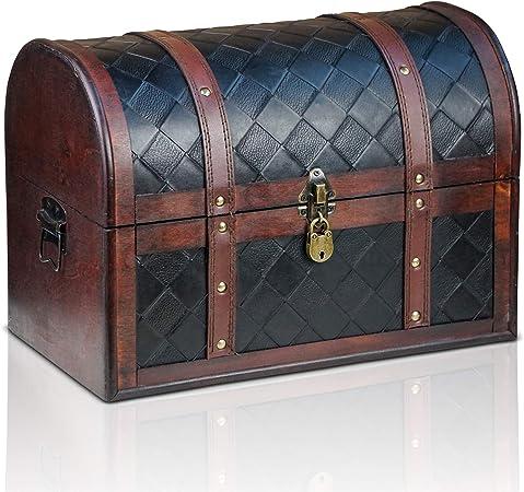 Brynnberg Caja de Madera Watson 38x23x27cm - Cofre del Tesoro Pirata de Estilo Vintage - Hecha a Mano - Diseño Retro - joyero - con candado: Amazon.es: Hogar