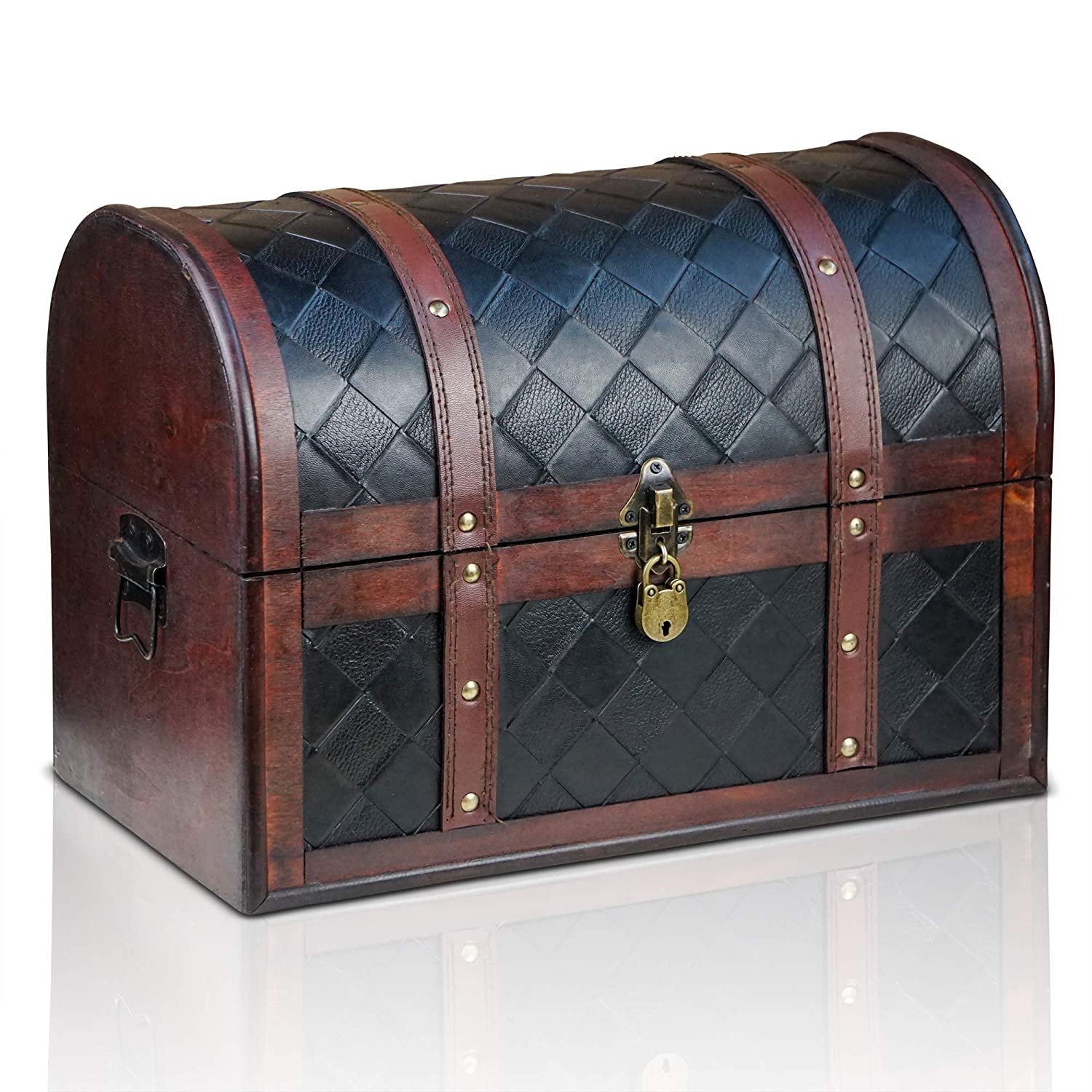 Brynnberg wooden pirate treasure chest Watson 38x23x27cm decorative storage box - Vintage decoration handmade - with padlock lockable with key