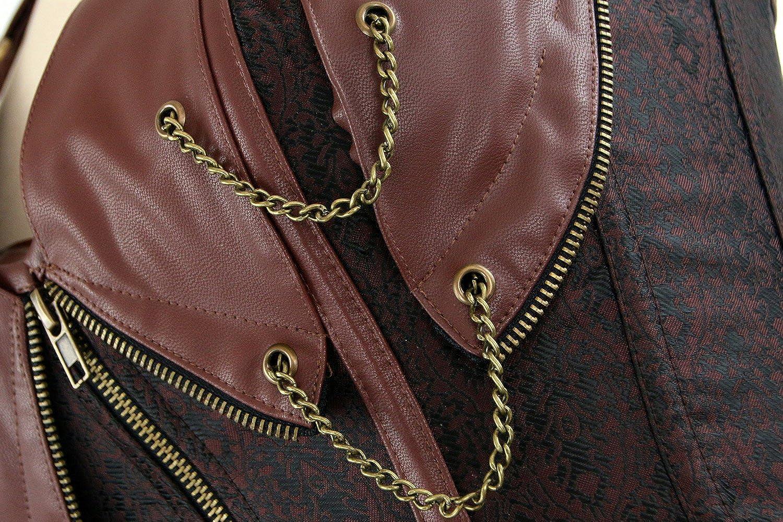 Charmian Womens Spiral Steel Boned Steampunk Goth Halter Leather Bustier Corset