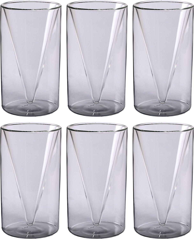 6 x 200 Ml spitzglasdesign verres /à double paroi pour th/é et caf/é spikey feelino lot de 12 glaces caf/é au lait jus de fruits cappuccino