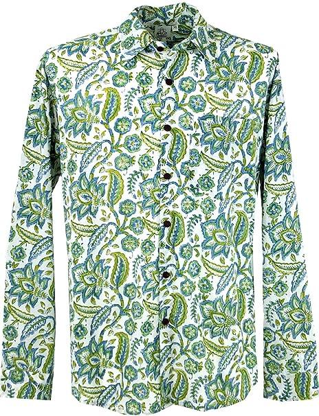 GURU-SHOP, Goa Hippie, Camisa de Hombre, Verde, Algodón, Tamaño:M, Camisas de Hombre: Amazon.es: Ropa y accesorios
