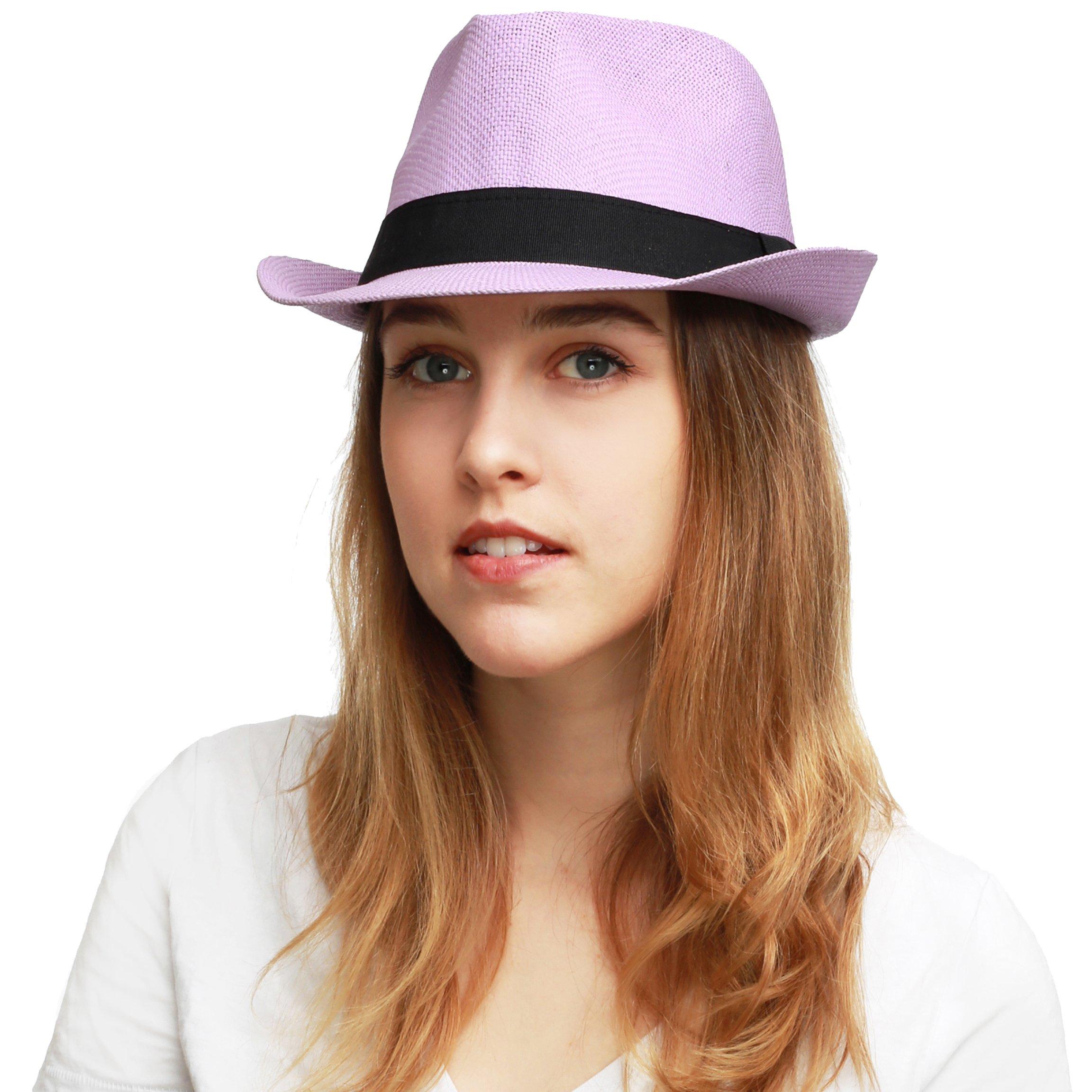 THE HAT DEPOT Unisex Summer Short Brim Straw Fedora Hat (Lavender)
