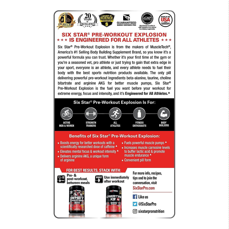 Amazon.com: Six Star Explosion Pre Workout Pills with L-Arginine ...
