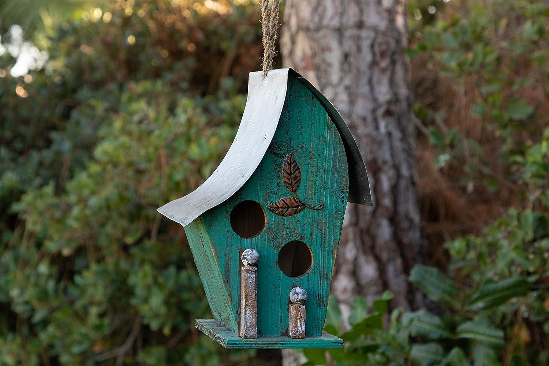 Alpine Corporation YEN134HH-TUR Wooden Birdhouse Outdoor Decor for Garden, Patio, Deck, Porch, 25-Inch Tall, Turquoise