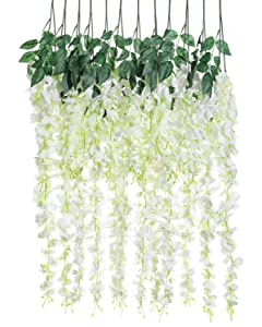 Artificial Silk Wisteria Vine Rattan Garland Fake Hanging Flower Wedding Party Home Garden Outdoor Ceremony Floral Decor,3.18 Feet, 6 Pieces (White-2)