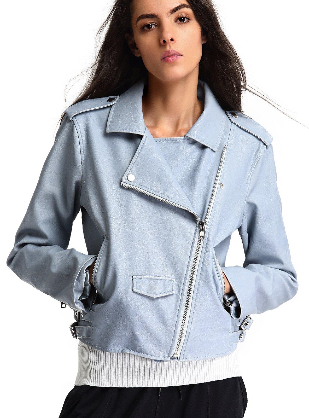 Escalier Women's Faux Leather Jacket Vintage Moto Biker Short Coat,Light Blue,Small