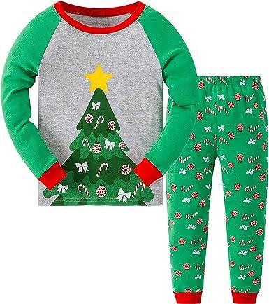 MIXIDON Pijamas de Navidad para Niños Pequeños y Niñas Algodón Ropa de Dormir Manga Larga 2 Piezas Ropa de Niños Pjs 3 a 11 años