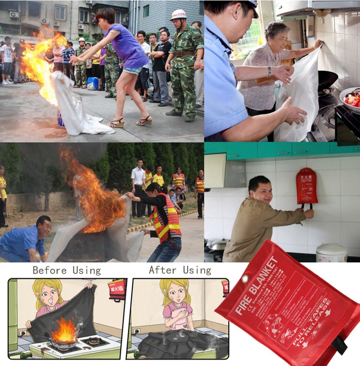 caleqi 1,2 m x 1,2 m manta ignífuga de suave caso cumple con la normativa EN 1869: 1997-give un par de guantes antideslizantes.: Amazon.es: Bricolaje y ...