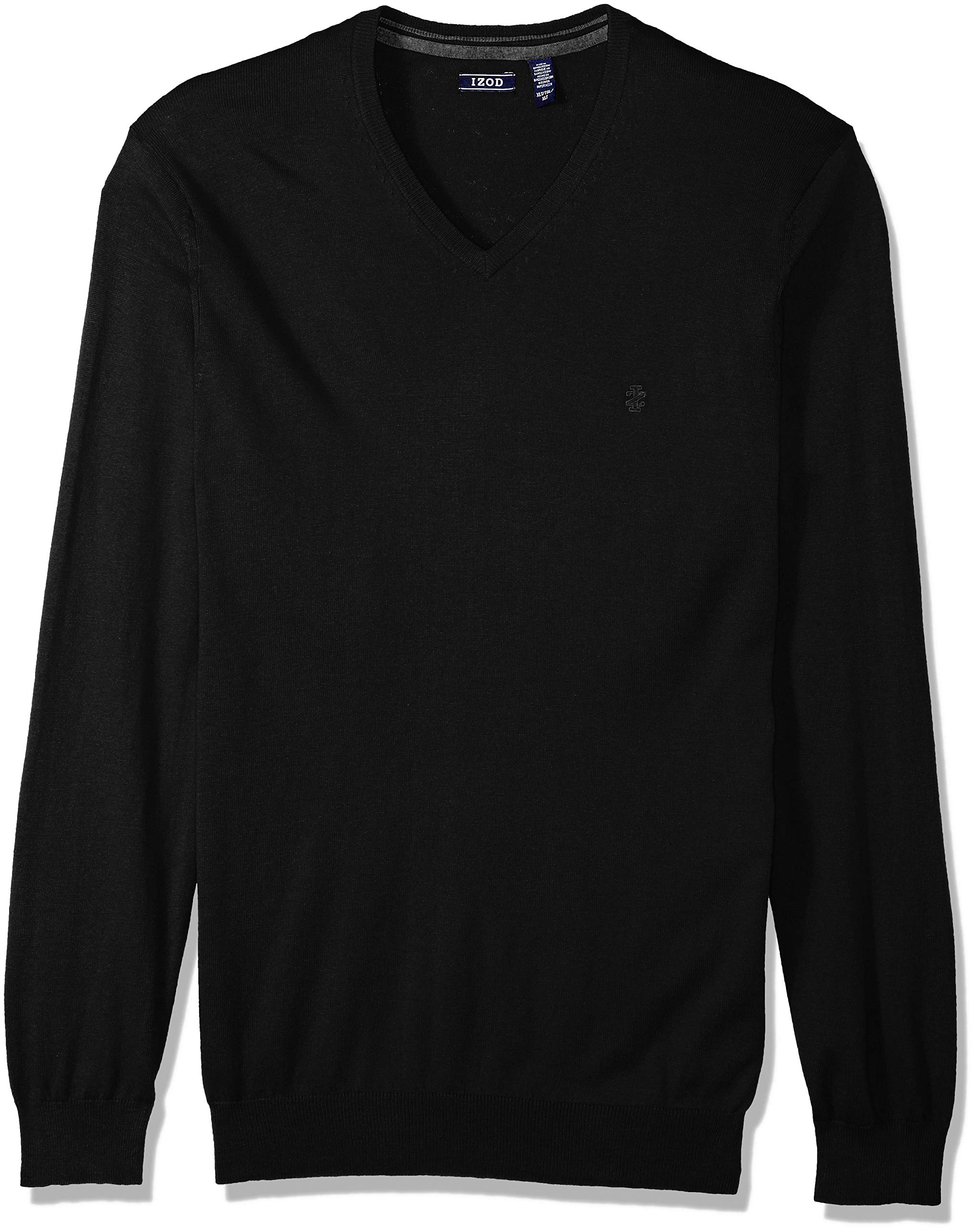 IZOD Men's Big and Tall Premium Essentials Solid V-Neck 12 Gauge Sweater, Black, X-Large