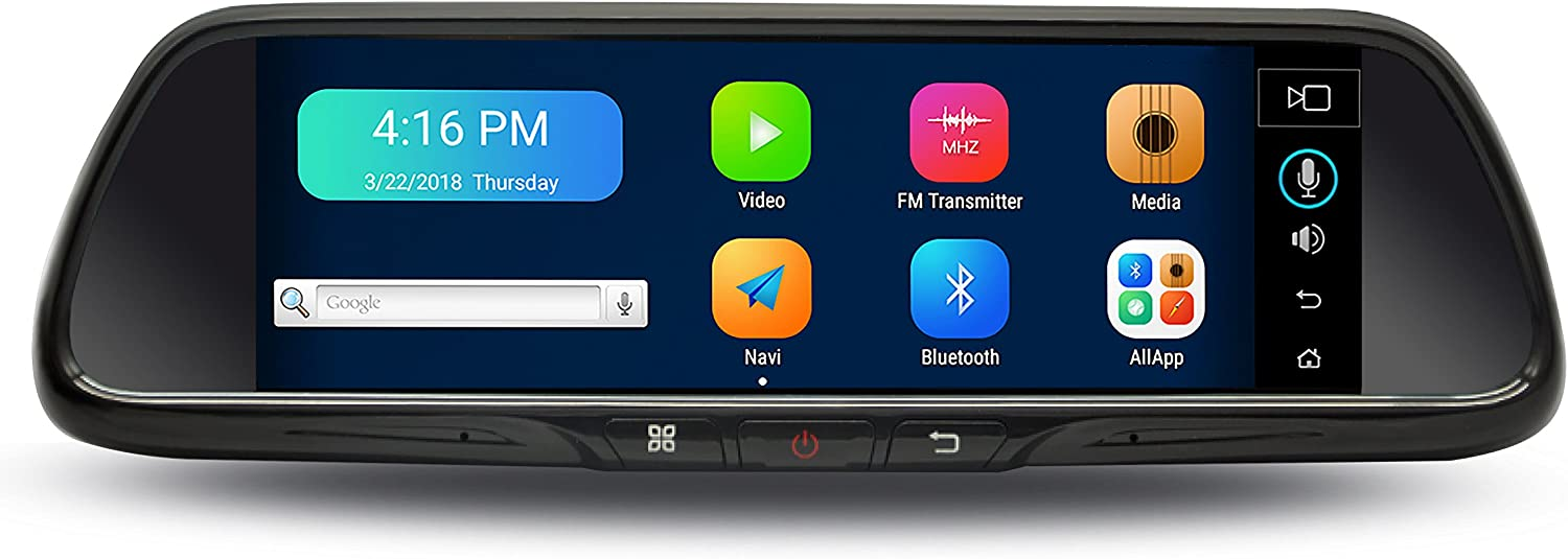Verytek Wireless Mirror Dash Cam Front and Rear with Super Large Touch Screen, Bluetooth, Navigation, and 32G SD Card Included