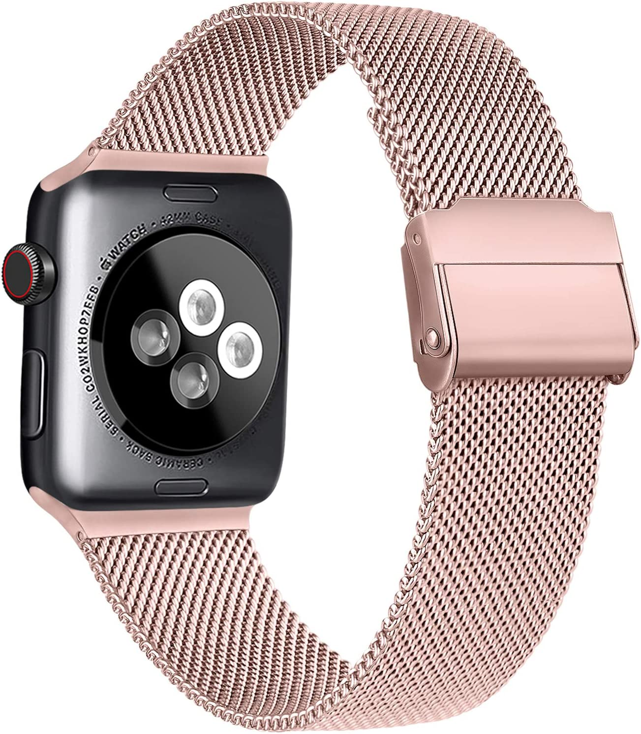 Meliya Compatible with Apple Watch Band 44mm 42mm 40mm 38mm, Stainless Steel Mesh Sport Wristband Compatible for iWatch Series SE 6 5 4 3 2 1 (42mm/44mm, Rose Pink)