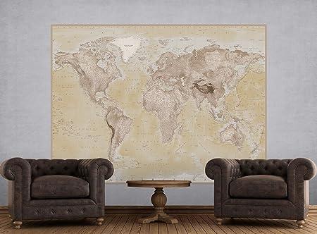 1 wall neutral world map feature wallpaper mural wood beige 158 1 wall neutral world map feature wallpaper mural wood beige 158 x 232 gumiabroncs Gallery