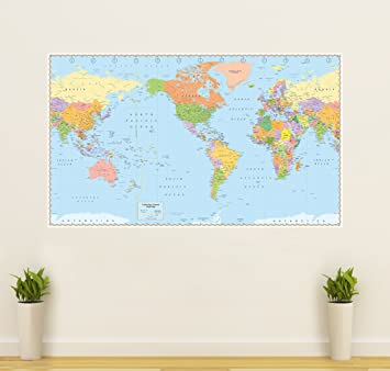 Amazoncom United States Centered World Map Laminated X - World map of the united states