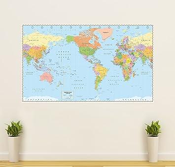 United States Centered World Map Laminated 53 5 X 32 Rolled 2017