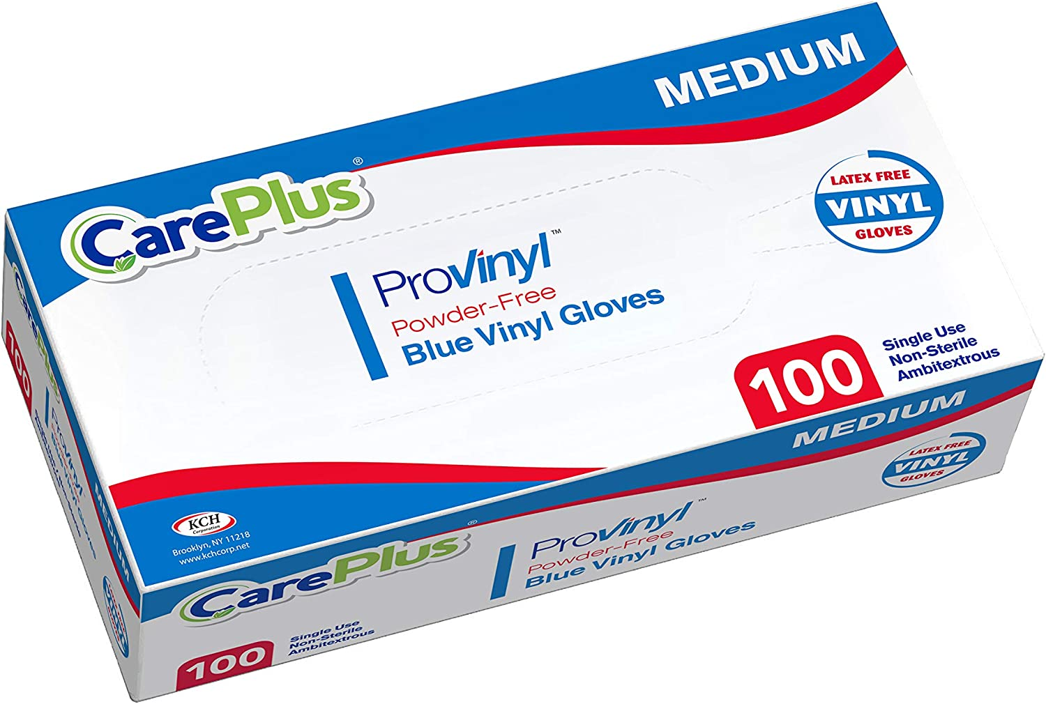 Disposable Blue Vinyl Gloves, Medium Size, Cleaning Gloves, Non Latex, Plastic Gloves, Food Service Gloves, Ambidextrous Gloves, Powder Free, All Purpose Gloves, 100 Count Dispenser Box, Blue Gloves
