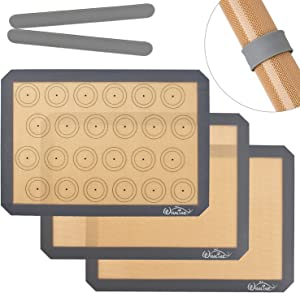 Whaline 3Pcs Silicone Baking Mats, Non-Slip Washable Reusable Baking Tray, Heat-Resistant Cooking Bakeware Mat, BPA Free, for Cookie Pizza Bread Baking, 41 x 29cm