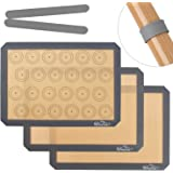 Whaline Silicone Baking Mat Professional Nonstick Silicon Liner, 2 Half Sheet Baking Sheet Mat and 1 Macaron Sheet Liners Sheets for Bake Pans & Rolling - Making Cookies, Macarons, Bread and Pastry