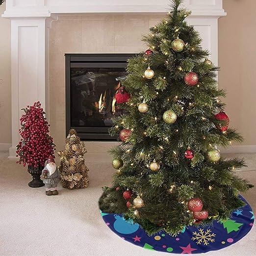 Falda de árbol de Navidad Azul Feliz vacaciones de ensueño ...