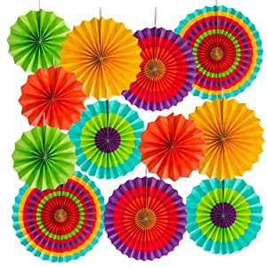 "OveeLando 2 Set of 6 Vibrant Bright Colors Hanging Paper Fans Rosettes Party Decoration 8"" 12"" 16"" Various Sizes"