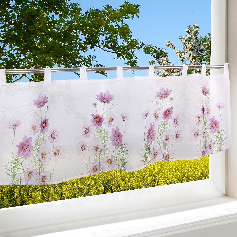 Tischdeckenshop24 Chemisier de Table 45 x 115 cm pour la Cuisine Le Salon Blanc Brise-bise Rideau Moderne et Semi-Transparent pour l/ét/é